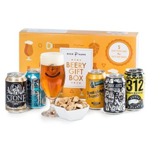 Beery Gift Hamper Selection Box by Beer Hawk, Craft Beer Gift Set with 5 Craft Beer Cans,1 Tasting Glass and 1 Delicious…