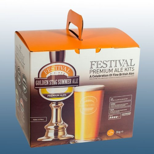 Homebrew & Wine Making – Festival Premium Ale – Golden Stag Summer Ale – 40 Pint Home Brew Beer Kit
