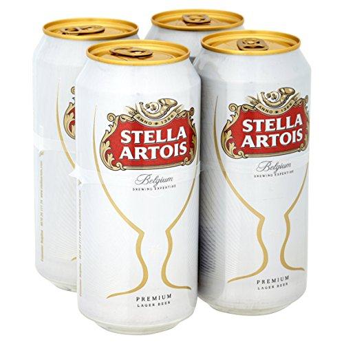 Stella Artois Belgium Premium Lager Beer Cans, 4 x 440ml