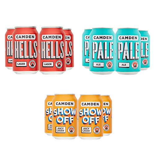 Camden Town Brewery mixed Craft Beer case – 12x330ml cans, including Hells Lager 4.6% ABV, Pale Ale 4% ABV and Show Off…