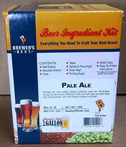 Brewer's Best HOZQ8-997 One gal Home Beer Ingredient Kit (Pale Ale), Multicolor