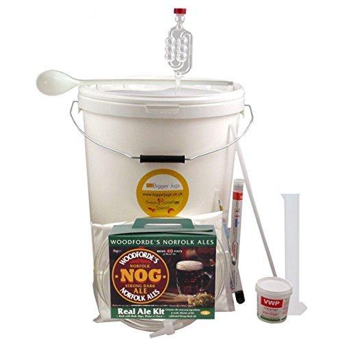 40 Pint (5 Gallon) Homebrew Beer Making Starter Kit – Woodfordes NOG Porter Style Beer. Home Brew Microbrewery