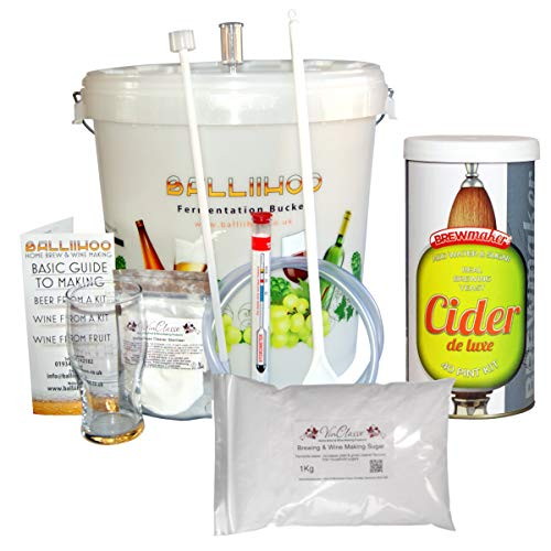 Balliihoo® Basic Homebrew Starter Equipment Kit with 40 Pint Cider De Luxe & 1Kg Brewing Sugar