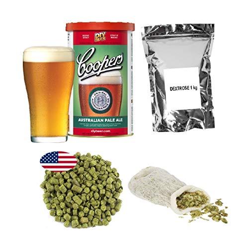 Brew Kit – Coopers APA + Dextrose 1kg + Hop pellets – Cascade 25g + Muslin Bag