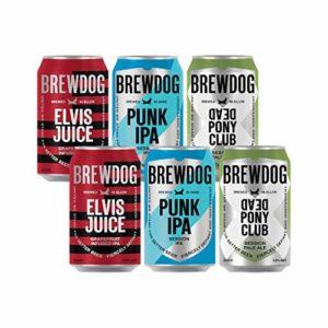 Brewdog Craft Beer Case Gift Set (6 Cans) – Punk IPA, Dead Pony Pale, Elvis Juice