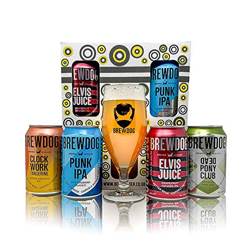 Brewdog UK Craft Beer 4 Can Gift Set with Branded Glass – (Punk IPA, Dead Pony, Elvis Juice, Clockwork Tangerine)