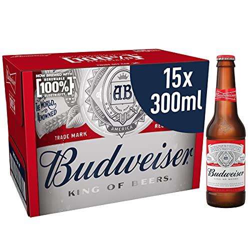 Budweiser Lager Beer Bottles, 15 x 300 ml