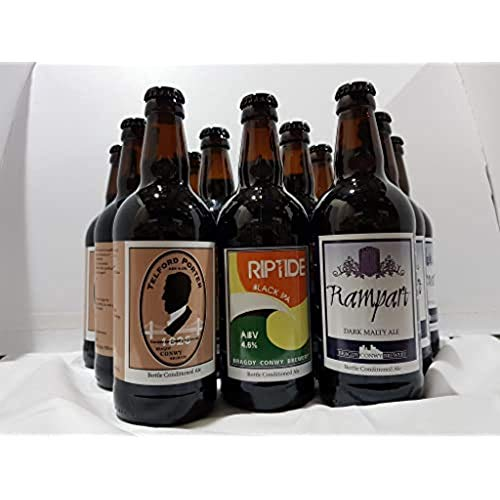 Conwy Brewery Dark Ales Gift Set, 500 ml – (4 x Riptide, 4 x Telford Porter and 4 x Rampart)