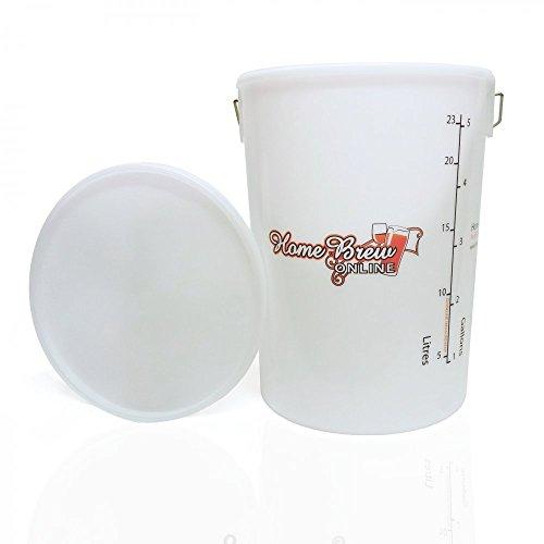 Fermenting Vessel 25 Litre + Lid for Fermentation Home Brew Beer Wine Cider – No Grommet