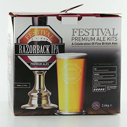 Festival Razorback IPA Premium Homebrew Kit, Makes 40 pints of 5% ABV Home Brew Real Ale