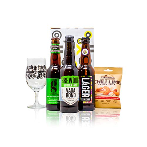 Gluten Free Mixed Craft Beer Gift Set with Official Branded Glass (Greens IPA, Brewdog Vagabond Pale Ale, Brightside…