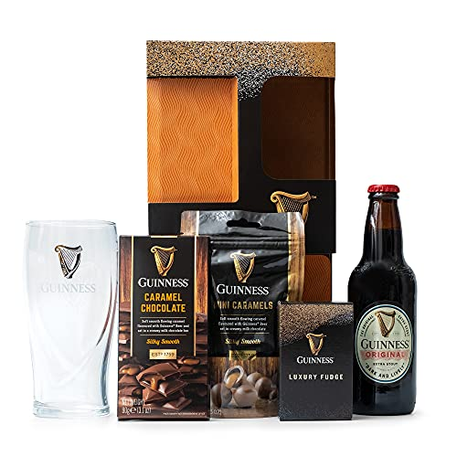 Guinness Gifts, Official Guinness Beer and Chocolate Hamper – 1x Guinness 330ml, Guinness Glass, Milk Chocolate, Caramel…