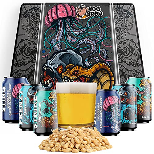 Hog Brew Craft Beer Hamper Variety Alcohol Selection Box. Set contains 6 x 330ml Craft Beer Cans, Beer Glass and Roasted…