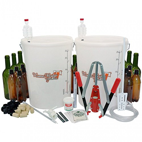 Home Brew Online Beer and Wine Starter Equipment Pack with Glass Wine Bottles