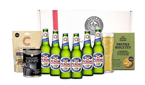 Italian Peroni Lovers Beer Gift Hamper Gourmet Premium Selection Box 6 x Peroni 330ml bottles, 1 Peroni Pint Glass…
