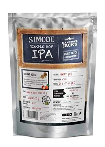 Mangrove Jack's Single Hopped IPA Simcoe Craft Beer Kit Pouches 23L 5.6% ABV
