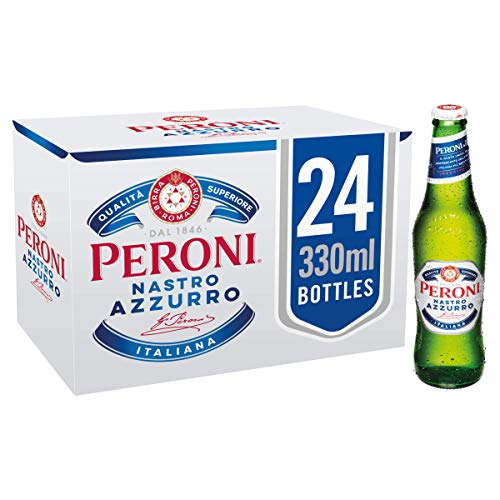 Peroni Nastro Azzurro Beer – 5.1% ABV – 24 x 33cl Bottles   Italy's Iconic Beer   Citrus Aromatic Notes   Clean Crisp…