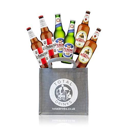 Premium Italian Lager Mixed Case Gift Set of 6 x 330ml Beers World Beer Gift in Jute Ichnusa, Peroni, Moretti
