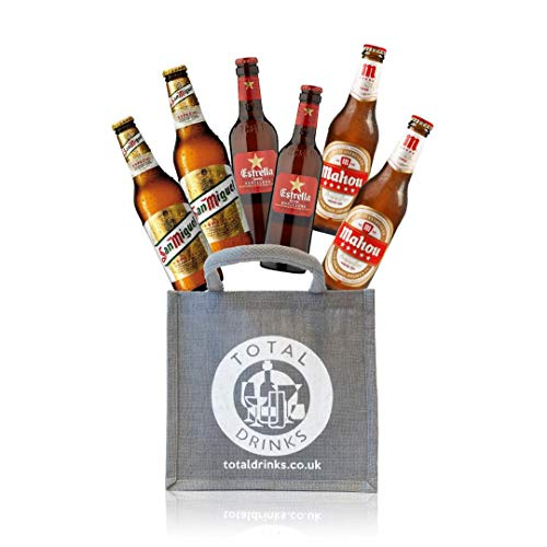 Premium Spanish Lager Mixed Case Gift Set of 6 Beers World Beer Gift in Jute Estrella Damm, San Miguel, Mahou Perfect…