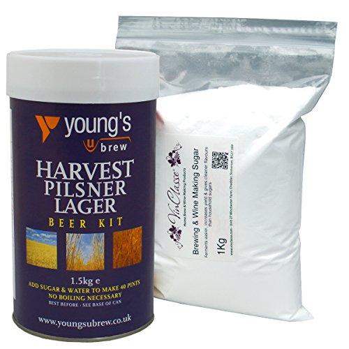 Youngs Harvest Pilsner Lager – 40 Pint Ingredient Kit Including 1Kg VinClasse® Brewing Sugar