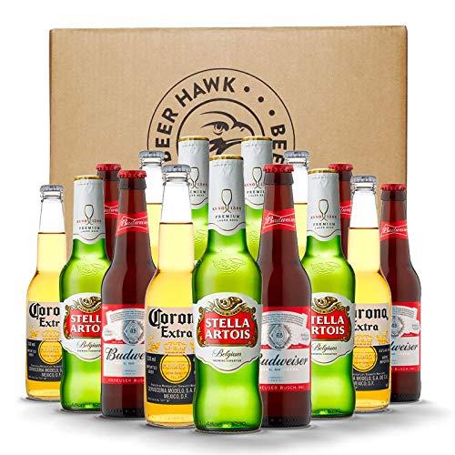 BEER HAWK 15 Bottle Premium Lager Party Pack – 5 bottles each of the popular brands Budweiser, Stella Artois and Corona…