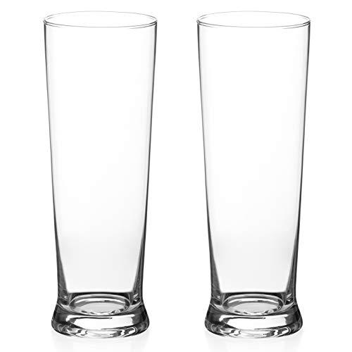 DIAMANTE Pilsner Beer Glasses Pair – 'Auris' Lager Glasses 500ml – Set of 2