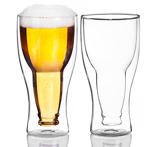 Double Walled Beer Glass Inside Out Upside Down Beer Bottle in Glass (2 Glasses)