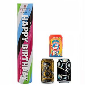 """Happy Birthday"" Craft Beer Canister Hamper | 3 British Craft Beers | Presentation Box"