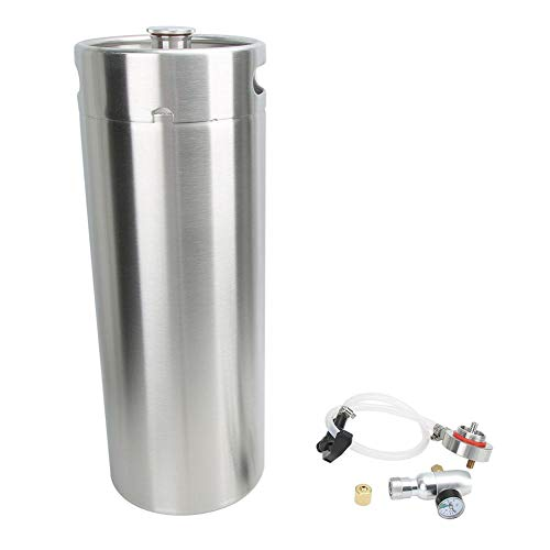 Jingyi Beer Barrel, Miniature Wood Whiskey Barrel Dispenser, 10L Homebrew Beer Keg and 304 Stainless Steel Home Brewing…
