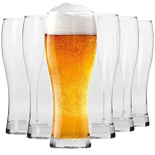 Krosno Tall Beer Pint Glasses | Set of 6 | 500 ML | Chill Collection | Perfect for Home and Parties | Dishwasher and…
