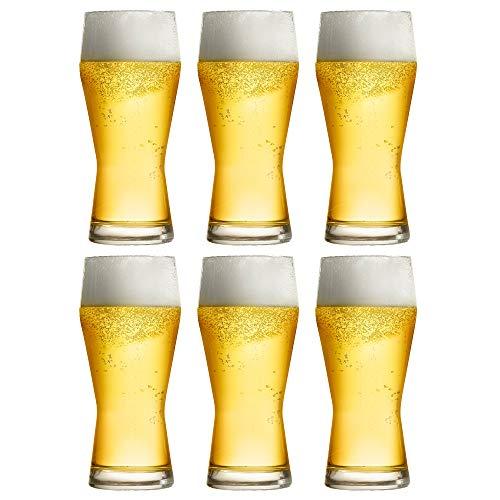 Libbey Beer Glass Pilsner – 40 cl / 400 ml – Set of 6 – Large Size – Dishwasher Safe – Made in Europe