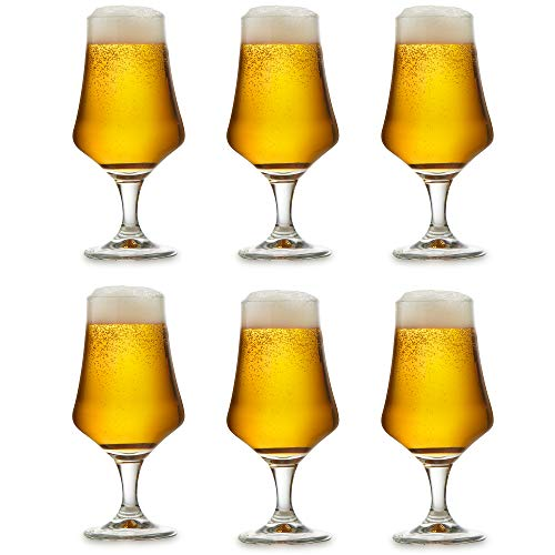 Libbey Beer glass Arôme – 37 cl / 370 ml – Set of 6 – Footed – Dishwasher safe – Tulip glass – Lager glass