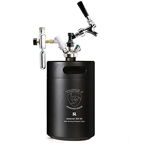 Triplej Mini 304 Stainless Steel Keg Craft Beer Dispenser ball lock kit (5L Standard Black)