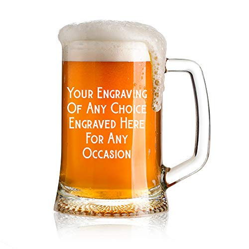 Personalised Engraved 1 Pint Glass Beer Tankard Any Occasion Bold Script Birthdays Anniversaries Weddings Christmas