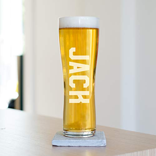 Personalised Engraved Name Pint Beer Glass, Toughened Glass, 220 x 77mm, 57cl, Great Father's Day, Birthday, Wedding…