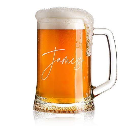 Personalised Name Script Font Birthday Beer Tankard Glass Gift for Him