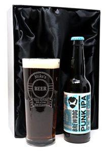 Personalised Pint Glass & Beer in Silk Gift Box – Beer Design (Brewdog Punk IPA Beer)