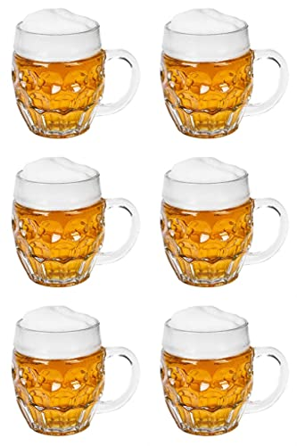 Pint Beer Glasses Set 500 ml Tankards Craft for Men Beer Glass with Handle Set 6