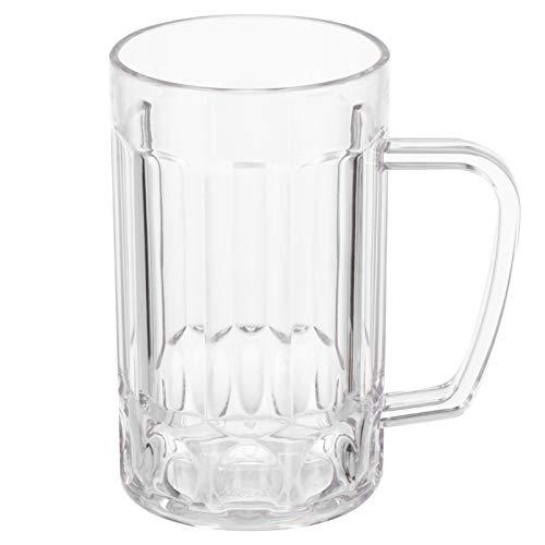 TOYANDONA Heavy Large Beer Glasses Classic Beer Mug Unbreakable Clear Beer Tasting Glasses Plastic Wine Cup Beer…