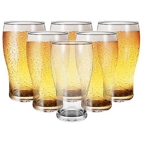 Vinsani Set of 6 Traditional Tulip Beer Glass Tumblers – 570ml (19.2oz) Beer Glasses