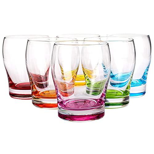 WUWEOT Set of 6 Water Juice Glasses Set, Vibrant Splash Beer Glasses with Colored Bottom for Women Men Friends, Idea…