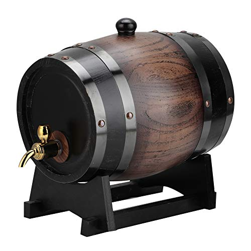 Wine Barrel 3L Vintage Striped Black Red Wine Barrel Keg Bucket Container with Faucet for Brandy Whisky