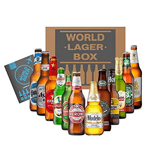 World of Lager Premium Box, 12 Bottle Mixed Case & World Beer Guide. Enjoy Lager Beers from Peroni, Budvar, Brooklyn and…