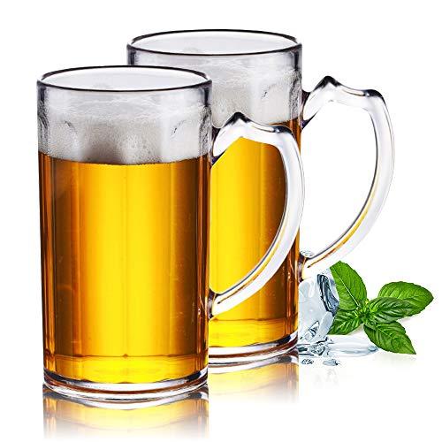 XGzhsa Beer Mug, Plastic Beer Mugs with Handles, 2Pcs Durable Beer Mugs 500ml Drop Resistant Classic Water Cups for Home…