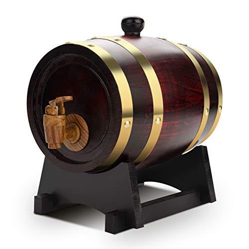 Yosoo Health Gear 1.5L Wood Oak Wine Barrel, Wine Barrel Dispenser Oak Timber Wine Barrel Vintage Wood Barrel with Tap…
